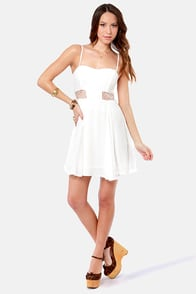 By the Lace-Sides White Lace Dress at Lulus.com!