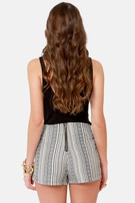 Stand Tribal Striped High-Waisted Shorts at Lulus.com!