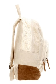 Roxy Lately Beige Linen and Lace Backpack at Lulus.com!
