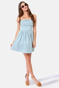 BB Dakota by Jack Emiley Strapless Blue Dress at Lulus.com!
