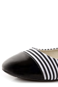 Sugar Atlas 1 Black and White Striped Cap-Toe Ballet Flats at Lulus.com!