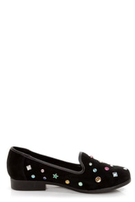 Y.R.U. Lowf Gem Black Gem Studded Smoking Slipper Flats at Lulus.com!