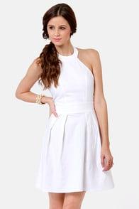 Floating on Flare White Halter Dress