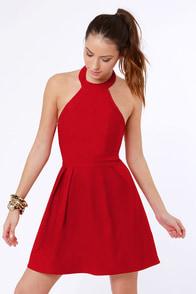 Floating on Flare Red Halter Dress