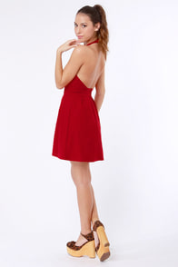 Floating on Flare Red Halter Dress at Lulus.com!