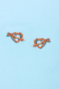 Shot Through the Heart Rose Gold Heart Earrings at Lulus.com!