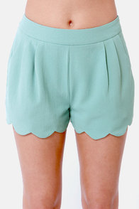 Sea Swells Scalloped Seafoam Shorts at Lulus.com!
