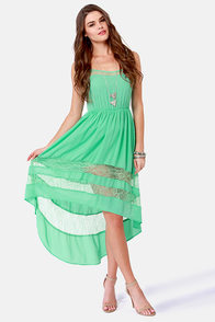 Simply Marvel-Lace Mint High-Low Lace Dress at Lulus.com!