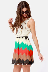 Ziggity Do Da Cream Striped Dress at Lulus.com!