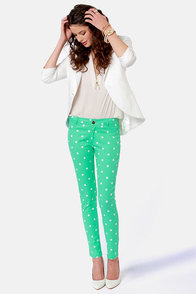Penny for Your Dots Green Polka Dot Jeggings at Lulus.com!