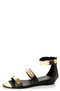 Chinese Laundry Now or Never Black Gold Plated Sandals