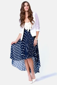 Hottest Spot in Town Pleated Navy Blue Polka Dot Skirt at Lulus.com!