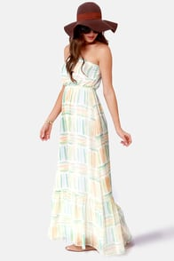Quiksilver Coastal Splash Strapless Print Maxi Dress at Lulus.com!
