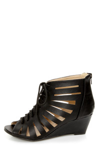 Vida 1 Black Cutout Lace-Up Wedge Booties
