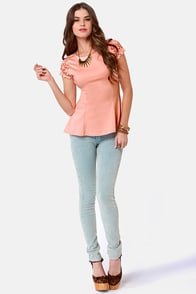 At Charm's Length Peach Lace Top at Lulus.com!