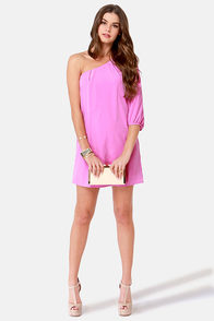 C'mon Get Happy One Shoulder Lavender Dress