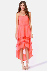 Simply Marvel-Lace Coral High-Low Lace Dress at Lulus.com!