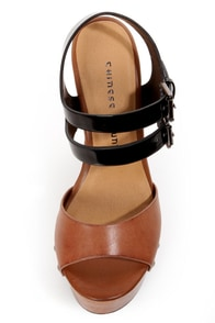 Chinese Laundry Jungle Gym Cognac and Black Platform Wedges at Lulus.com!