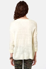 Face The Day Cream Sweater at Lulus.com!
