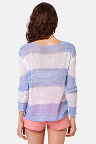 Ocean Beach Blue and White Striped Sweater at Lulus.com!