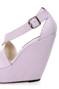 Mojo Moxy Creamy Lilac Peep Toe Platform Wedges at Lulus.com!