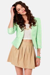 Mint-allica Mint Green Cropped Jacket