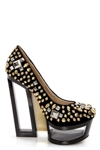 Privileged Sash Black Skull Studded Cutout Platform Wedges at Lulus.com!