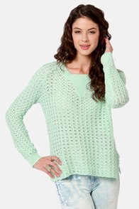 Missa Spring in Your Step Mint Green Sweater at Lulus.com!