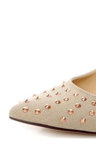 Michael Antonio Raquelle Natural Canvas Studded Pointed Pumps at Lulus.com!