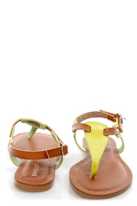 Bamboo Morris 67 Lime and Tan T-Strap Thong Sandals at Lulus.com!