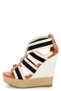 Bamboo Energy 32 Beige Canvas Striped Platform Wedge Sandals at Lulus.com!