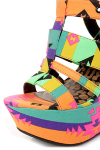 Dollhouse Electric Black Multi Neon Print Platform Wedges at Lulus.com!