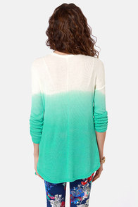 LULUS Exclusive This Kiss Ivory and Teal Ombre Sweater at Lulus.com!