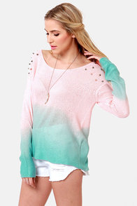 Dangerous Darling Pink and Turquoise Studded Ombre Sweater at Lulus.com!