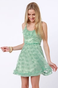 Lost Ethel Sage Green Lace Dress