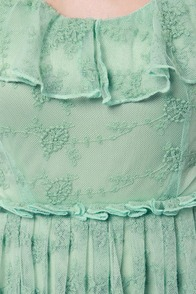 Lost Ethel Sage Green Lace Dress at Lulus.com!