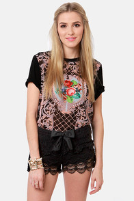 Lost Bossanova Black Lace Shorts at Lulus.com!