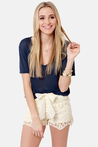 Lost Coronado Cream Lace Shorts at Lulus.com!