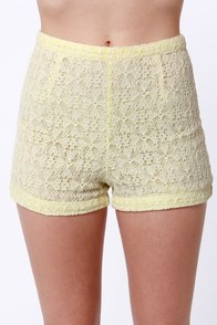 Lost Blast Beige and Yellow Lace Shorts at Lulus.com!