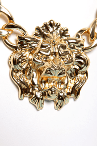 Roar of the Crowd Gold Lion Necklace at Lulus.com!