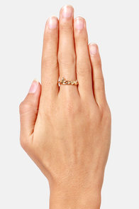 Be Mine Gold Love Ring at Lulus.com!