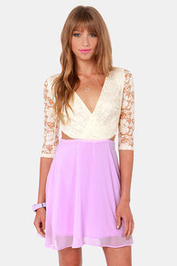Lovers' Lane Lavender and Ivory Lace Dress