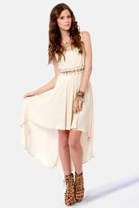 Play the Middle Cream High-Low Dress at Lulus.com!