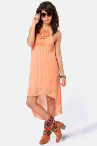 O'Neill French Kiss Peach High-Low Dress at Lulus.com!