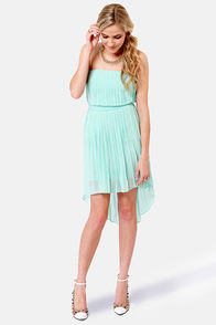 Divine Design Light Blue Strapless High-Low Dress at Lulus.com!