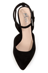 Mixx Shuz Nicki Black Pointed D'Orsay Kitten Heels at Lulus.com!