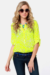 Botanical Brights Neon Yellow Floral Print Top
