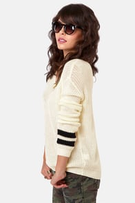 Cuff Luck Ivory and Black Striped Sweater at Lulus.com!