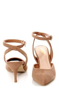 Mixx Shuz Nicki Nude Pointed D'Orsay Kitten Heels at Lulus.com!