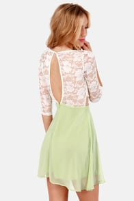 Lovers' Lane Light Green and Ivory Lace Dress at Lulus.com!